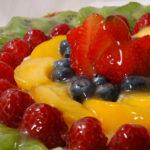 Torta de geleia e frutas